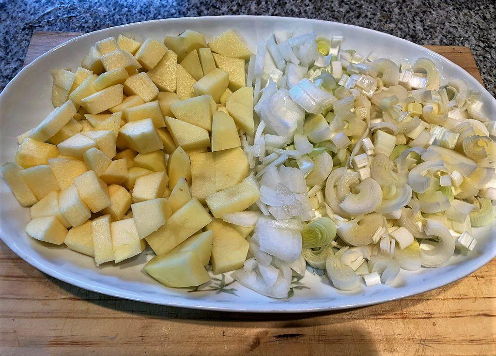 Ingredientes- crema de puerro y manzana