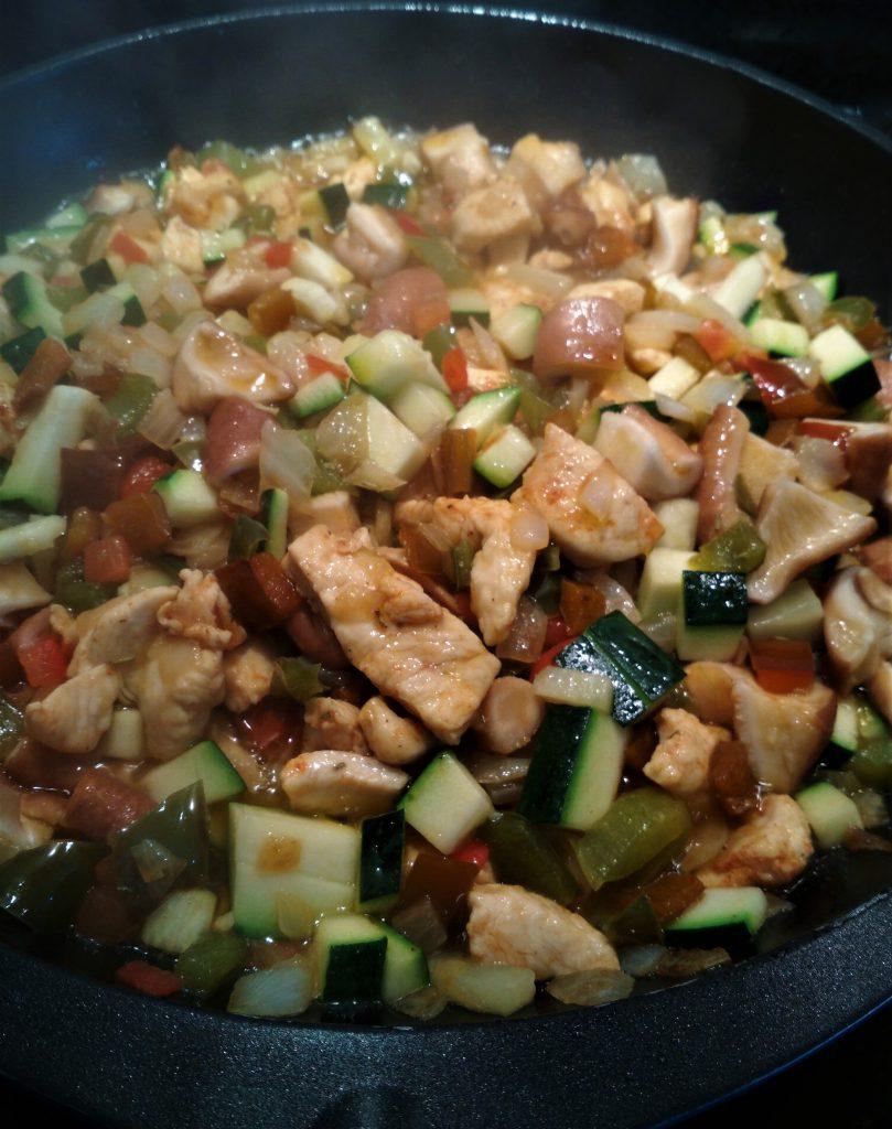 Salteado pollo y verduras