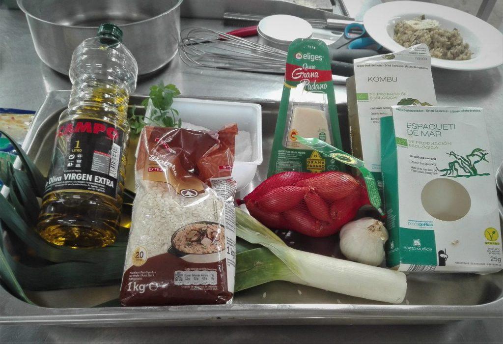 Ingredientes risotto de algas deshidratadas y gambas